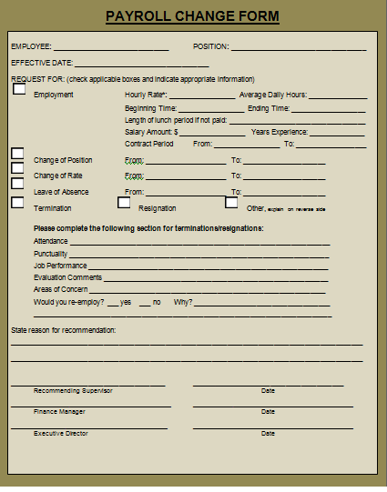 payroll status change form Archives - Payslip Templates