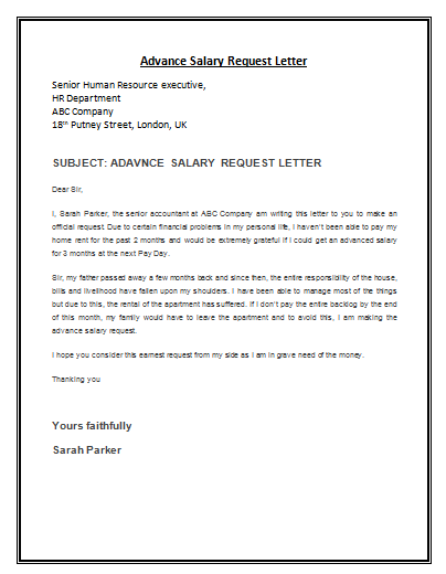 Advance Salary Request Letter Template