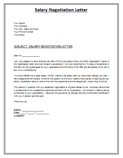 Salary Negotiation Letter Sample - By Payslipstemplates.com