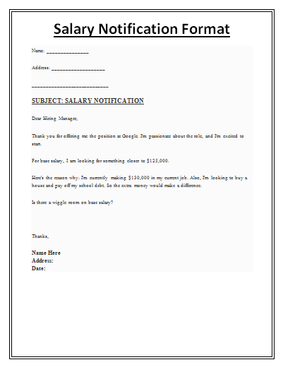 Salary Notification Template  Payslip Formats