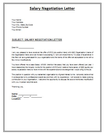 salary negotiation letter samples